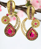 Antique Gold Plated Pink stone studded Drop Earring, Pink - Jewellery - SharePyar
