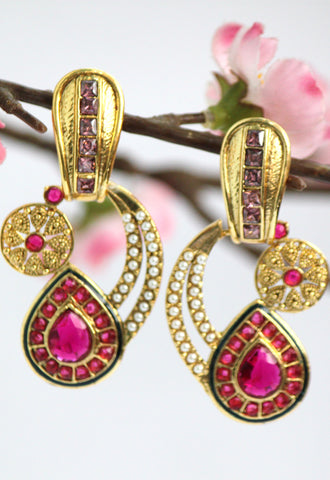 Antique Gold Plated Pink stone studded Drop Earring, Pink - SharePyar - 1