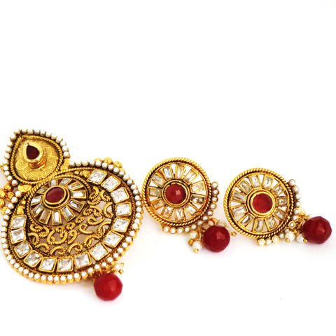 Antique Gold Plated Stone Necklace Set - Jewellery - SharePyar