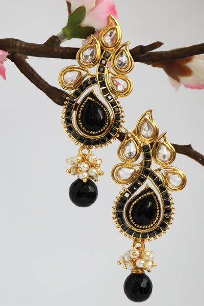 Antique Gold Plated Stone studded Drop Earring, Black - SharePyar - 1