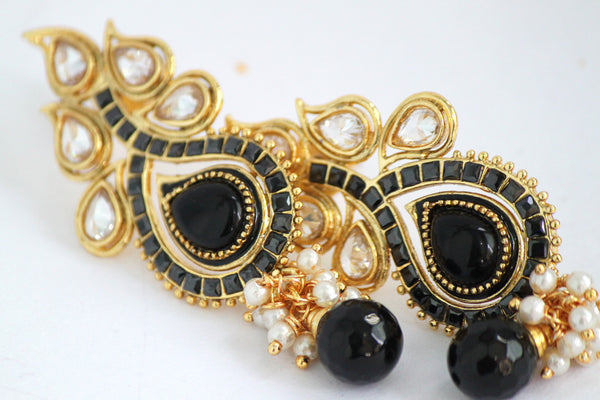 Antique Gold Plated Stone studded Drop Earring, Black - SharePyar - 3