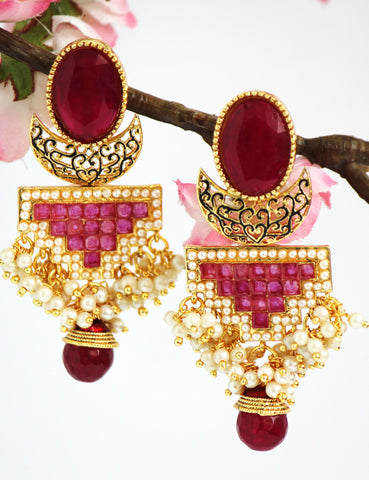 Antique Gold Plated Stone studded Drop Earring, Red - SharePyar - 1