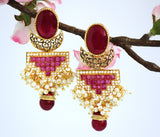Antique Gold Plated Stone studded Drop Earring, Red - Jewellery - SharePyar
