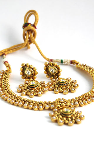 Antique Gold Plated Traditional Kundan Necklace Set - Jewellery - SharePyar