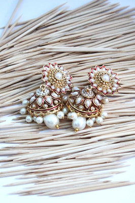 Antique Jhumka Flower Design with Pearls - Jewellery - SharePyar