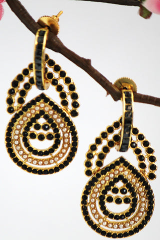 Antique Teardrop shape Stone Studded Earring, Black - SharePyar - 1