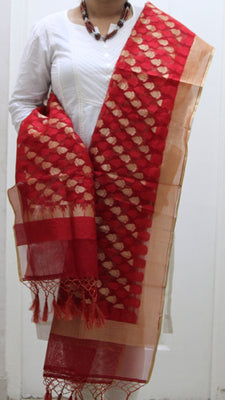 Pure Banarasi Handloom Net Dupatta, Leaf Pattern - Dupatta and Stoles - SharePyar