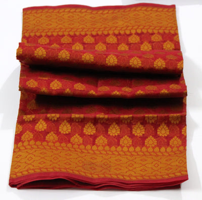 Handloom Banarasi Kora Silk Dupatta, Red-Orange - Dupatta and Stoles - SharePyar