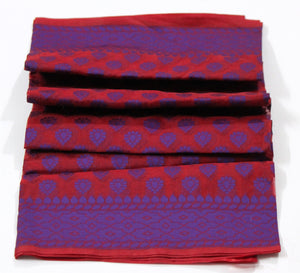 Banarasi Kora Silk Handloom Dupatta, Maroon-Purple - Dupatta and Stoles - SharePyar