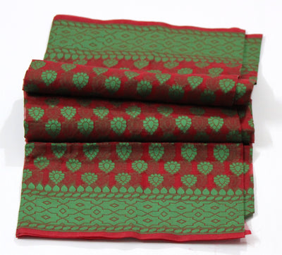 Banarasi Kora Silk Red Green Handloom Dupatta - Dupatta and Stoles - SharePyar