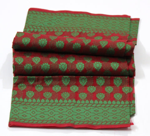 Banarasi Kora Silk Red Green Handloom Dupatta - SharePyar