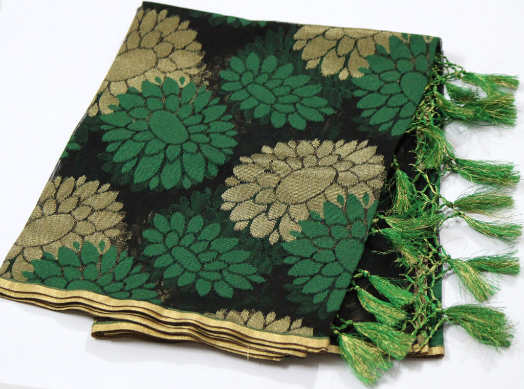 Pure Banarasi Handloom Net Dupatta, Golden Green - SharePyar