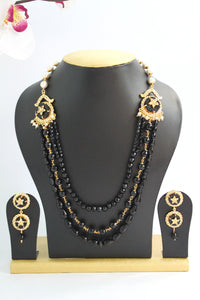 Black Beaded American Diamond Designer Necklace Set - SharePyar