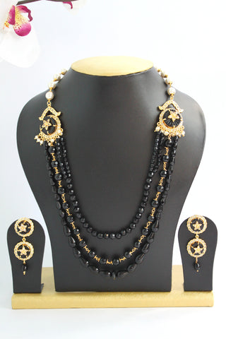 Black Beaded American Diamond Designer Necklace Set - SharePyar - 1