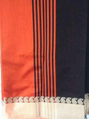 Black Mixed Silk Cotton Saree - Sarees - SharePyar