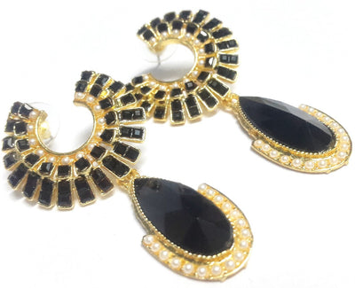 Black Polki Teardrop Earrings - Jewellery - SharePyar