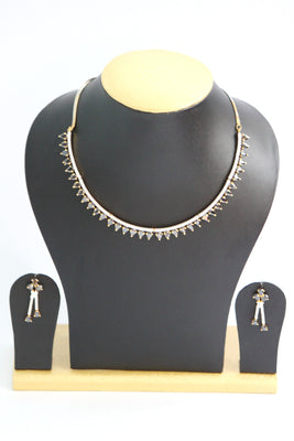 Black Stone Studded American Diamond Necklace Set - Jewellery - SharePyar