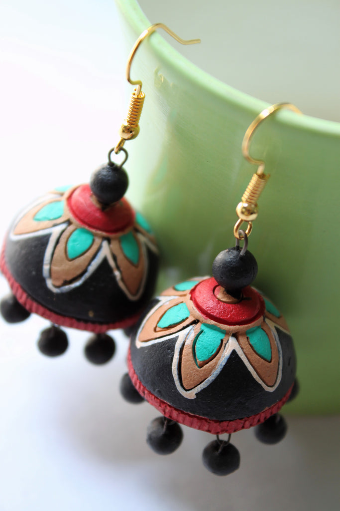 Terracotta Jhumka, Black - Jewellery - SharePyar