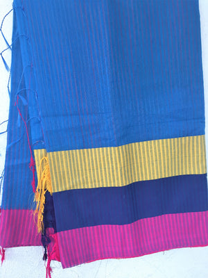 Blue Cotton Saree - Sarees - SharePyar