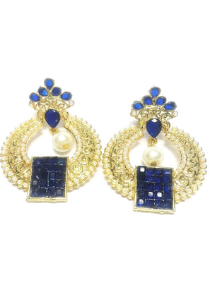 Blue Designer Pearl Polki Earrings - Jewellery - SharePyar