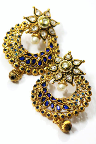 Blue Kundan Earrings - SharePyar - 1