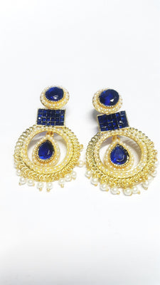 Blue Polki Earrings - Jewellery - SharePyar