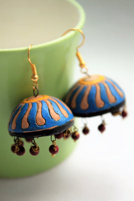 Blue Terracotta Jhumka - Jewellery - SharePyar