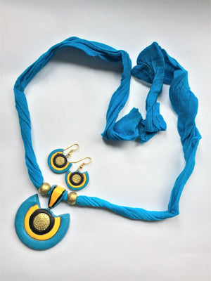 Blue Terracotta Pendant Set - Jewellery - SharePyar
