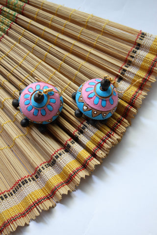 Blue and Pink Terracotta Jhumka - SharePyar