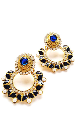 Bollywood Style Stone Studded Earrings, Blue