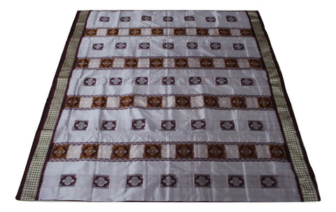 Bomkai Sambalpuri Silk  Saree, Box pattern, Hand Woven, Grey /Maroon - SharePyar - 1