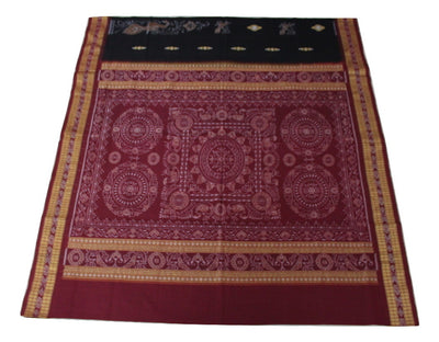 Bomkai Sambalpuri Peacock Pattern Cotton साड़ी,  Hand Woven, Black / Maroon - Sarees - SharePyar