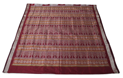 Bomkai Sambalpuri Silk  Saree, Box pattern, Hand Woven, Light Onion /Maroon - Sarees - SharePyar
