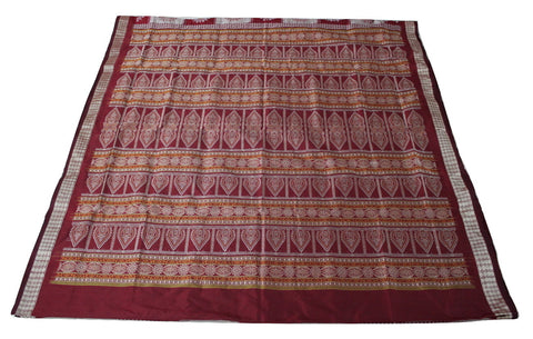 Bomkai Sambalpuri Silk  Saree, Box pattern, Hand Woven, Light Onion /Maroon - SharePyar - 2