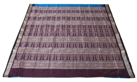 Bomkai Sambalpuri Silk Saree, Mini Butta Design, Hand Woven, Blue / Dark Maroon - SharePyar - 2