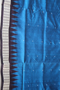 Bomkai Sambalpuri Silk Saree, Mini Butta Design, Hand Woven, Blue / Dark Maroon - Sarees - SharePyar