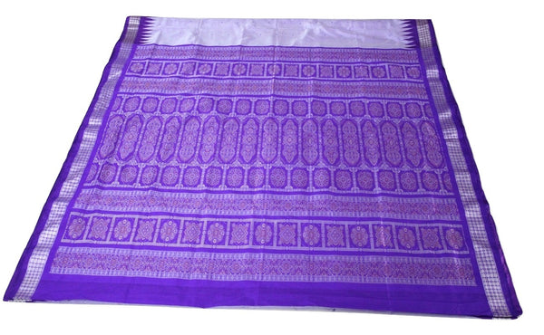 Bomkai Sambalpuri Silk Saree, Mini Butta Design, Hand Woven, Light Purple / Violet - SharePyar - 2