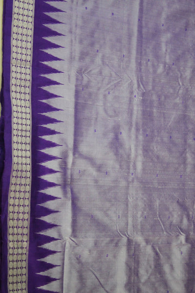 Bomkai Sambalpuri Silk Saree, Mini Butta Design, Hand Woven, Light Purple / Violet - SharePyar - 4