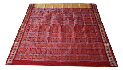 Mini Butta Bomkai Sambalpuri Silk Pata Saree, Hand Woven, Golden Yellow/ Maroon - SharePyar - 1