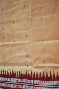 Mini Butta Bomkai Sambalpuri Silk Pata Saree, Hand Woven, Golden Yellow/ Maroon - Sarees - SharePyar
