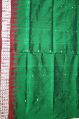 Bomkai Sambalpuri Silk साड़ी, Mini Butta Design, Hand Woven, Bottle Green / Maroon - Sarees - SharePyar