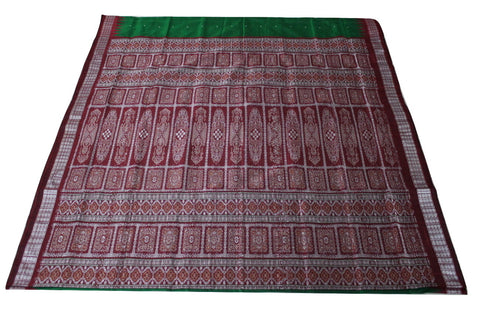 Bomkai Sambalpuri Silk Saree, Mini Butta Design, Hand Woven, Bottle Green / Maroon - SharePyar - 2