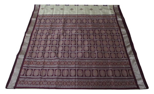 Bomkai Sambalpuri Silk  Saree, Box pattern, Hand Woven, Golden / Maroon - SharePyar - 1