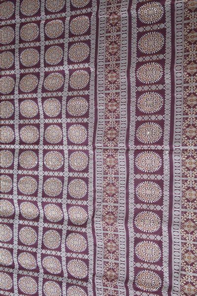 Bomkai Sambalpuri Silk  Saree, Box pattern, Hand Woven, Golden / Maroon - SharePyar - 3