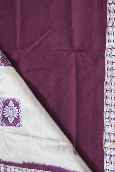 Bomkai Sambalpuri Silk  Saree, Box pattern, Hand Woven, Golden / Maroon - SharePyar - 2