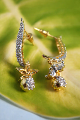 CZ Flower Hook Earrings - Jewellery - SharePyar