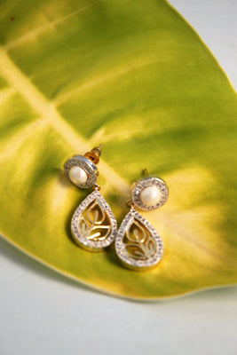 CZ Pearl Teardrop Danglers - Jewellery - SharePyar