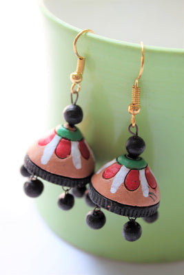 Casual Terracotta Jhumka, Red Green - Jewellery - SharePyar