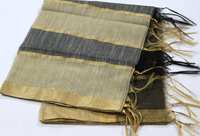 Golden Bordered Ivory Black Chanderi Silk Dupatta - Dupatta and Stoles - SharePyar