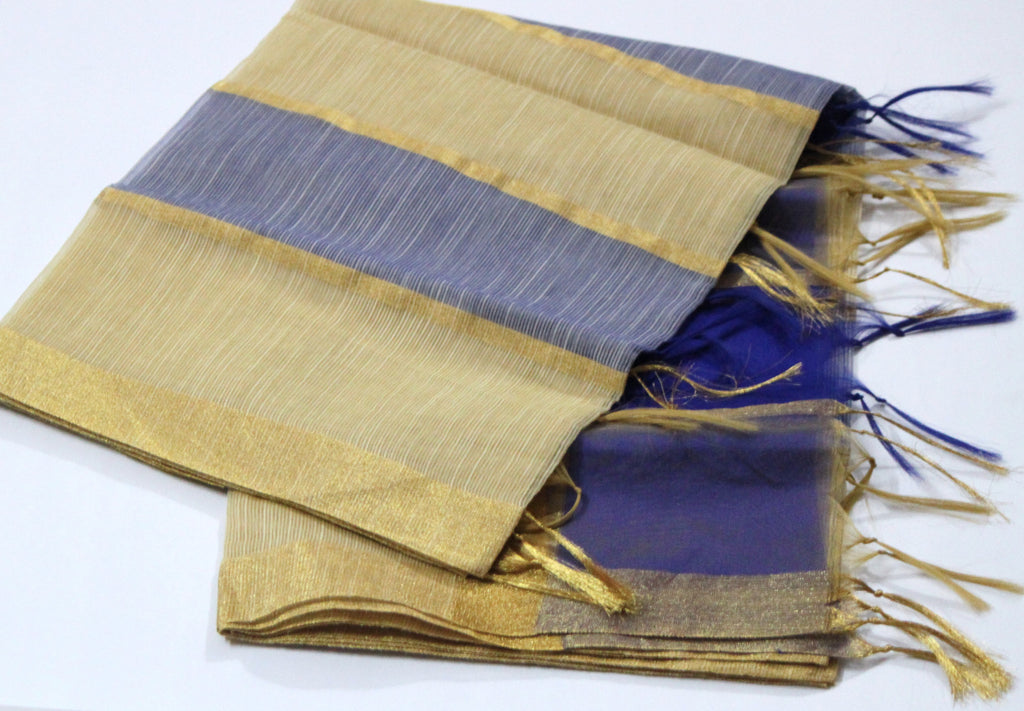 Golden Zari Bordered Chanderi Silk Dupatta, Handloom - SharePyar